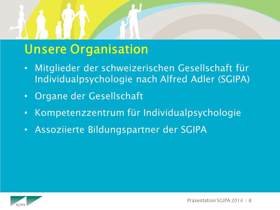 Präsentation SGIPA 2014 / 8 Unsere Organisation Mitglieder der schweizerischen Gesellschaft für Individualpsychologie nach Alfred Adler (SGIPA) Organe der Gesellschaft Kompetenzzentrum für Individualpsychologie Assoziierte Bildungspartner der SGIPA