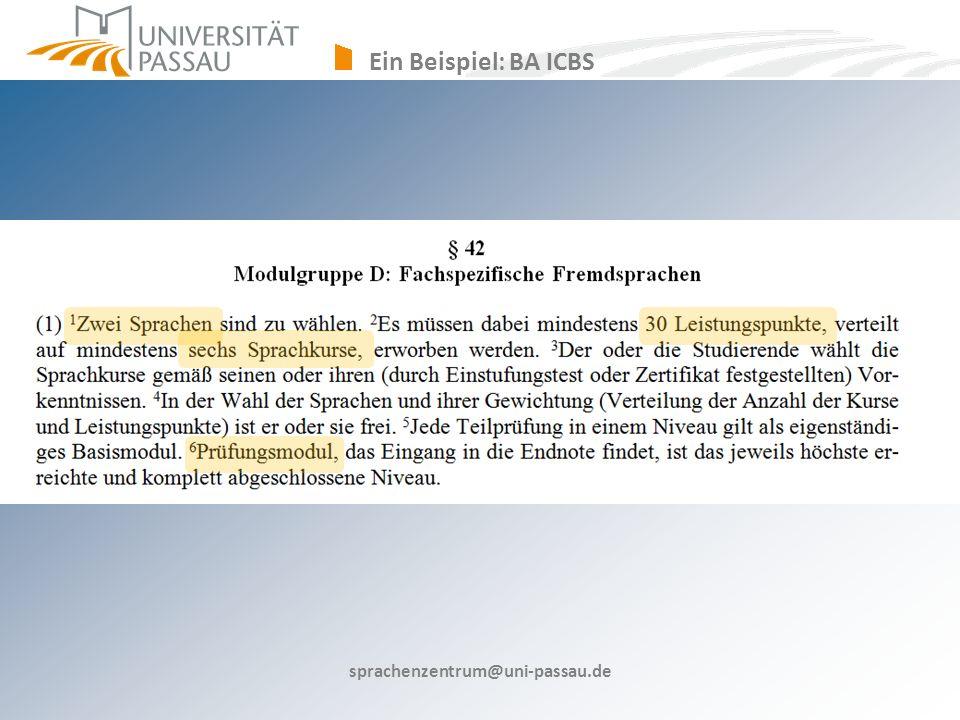 sprachenzentrum@uni-passau.de Ein Beispiel: BA ICBS