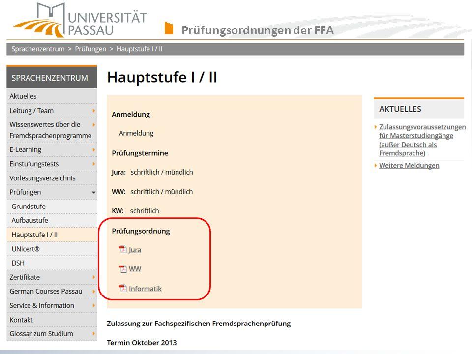 sprachenzentrum@uni-passau.de Prüfungsordnungen der FFA
