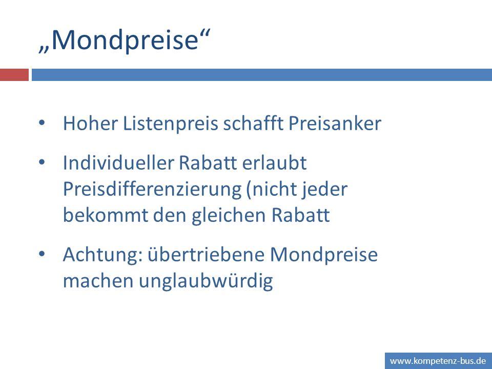 www.kompetenz-bus.de Mondpreise Hoher Listenpreis schafft Preisanker Individueller Rabatt erlaubt Preisdifferenzierung (nicht jeder bekommt den gleich