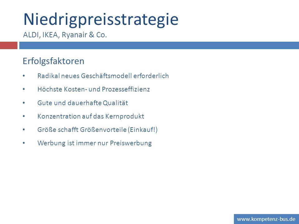 www.kompetenz-bus.de Niedrigpreisstrategie ALDI, IKEA, Ryanair & Co. Erfolgsfaktoren Radikal neues Geschäftsmodell erforderlich Höchste Kosten- und Pr