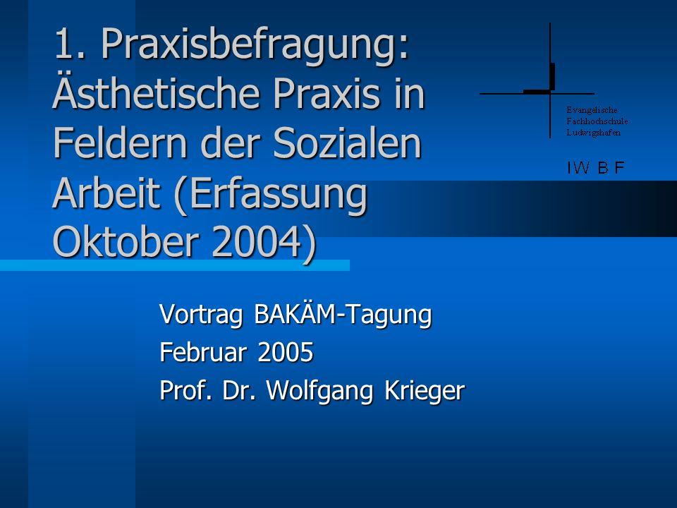 1. Praxisbefragung: Ästhetische Praxis in Feldern der Sozialen Arbeit (Erfassung Oktober 2004) Vortrag BAKÄM-Tagung Februar 2005 Prof. Dr. Wolfgang Kr