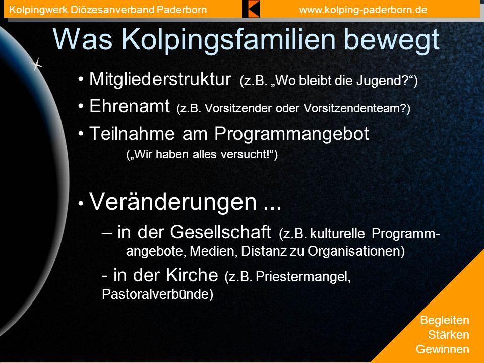 Begleiten Stärken Gewinnen Kolpingwerk Diözesanverband Paderbornwww.kolping-paderborn.de Was Kolpingsfamilien bewegt Mitgliederstruktur (z.B.