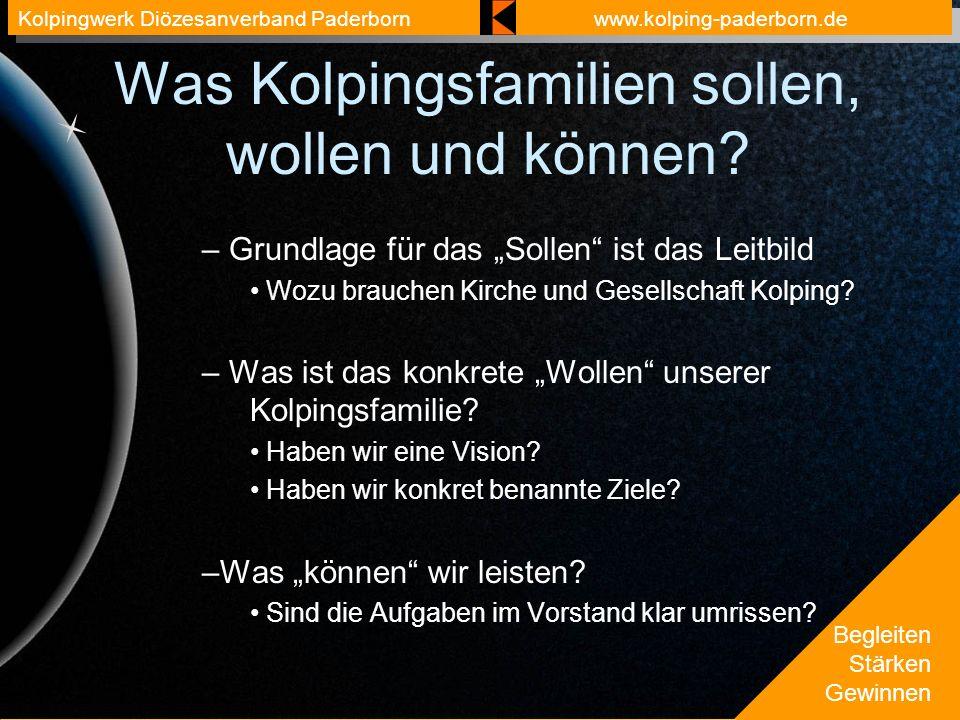 Begleiten Stärken Gewinnen Kolpingwerk Diözesanverband Paderbornwww.kolping-paderborn.de Was Kolpingsfamilien sollen, wollen und können? – Grundlage f