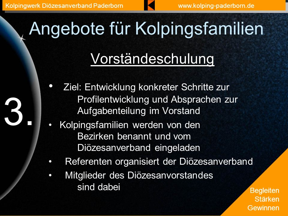 Begleiten Stärken Gewinnen Kolpingwerk Diözesanverband Paderbornwww.kolping-paderborn.de Angebote für Kolpingsfamilien Vorständeschulung Ziel: Entwicklung konkreter Schritte zur Profilentwicklung und Absprachen zur Aufgabenteilung im Vorstand Kolpingsfamilien werden von den Bezirken benannt und vom Diözesanverband eingeladen Referenten organisiert der Diözesanverband Mitglieder des Diözesanvorstandes sind dabei 3.