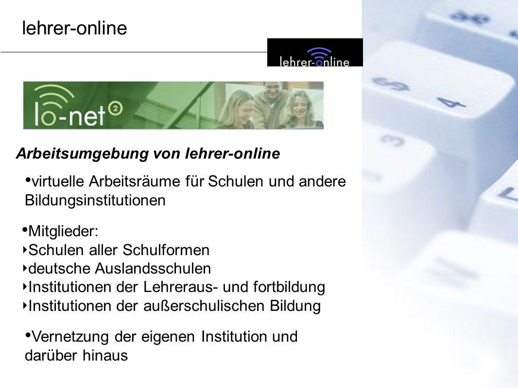 Arbeitsumgebung von lehrer-online virtuelle Arbeitsräume für Schulen und andere Bildungsinstitutionen Mitglieder: Schulen aller Schulformen deutsche A