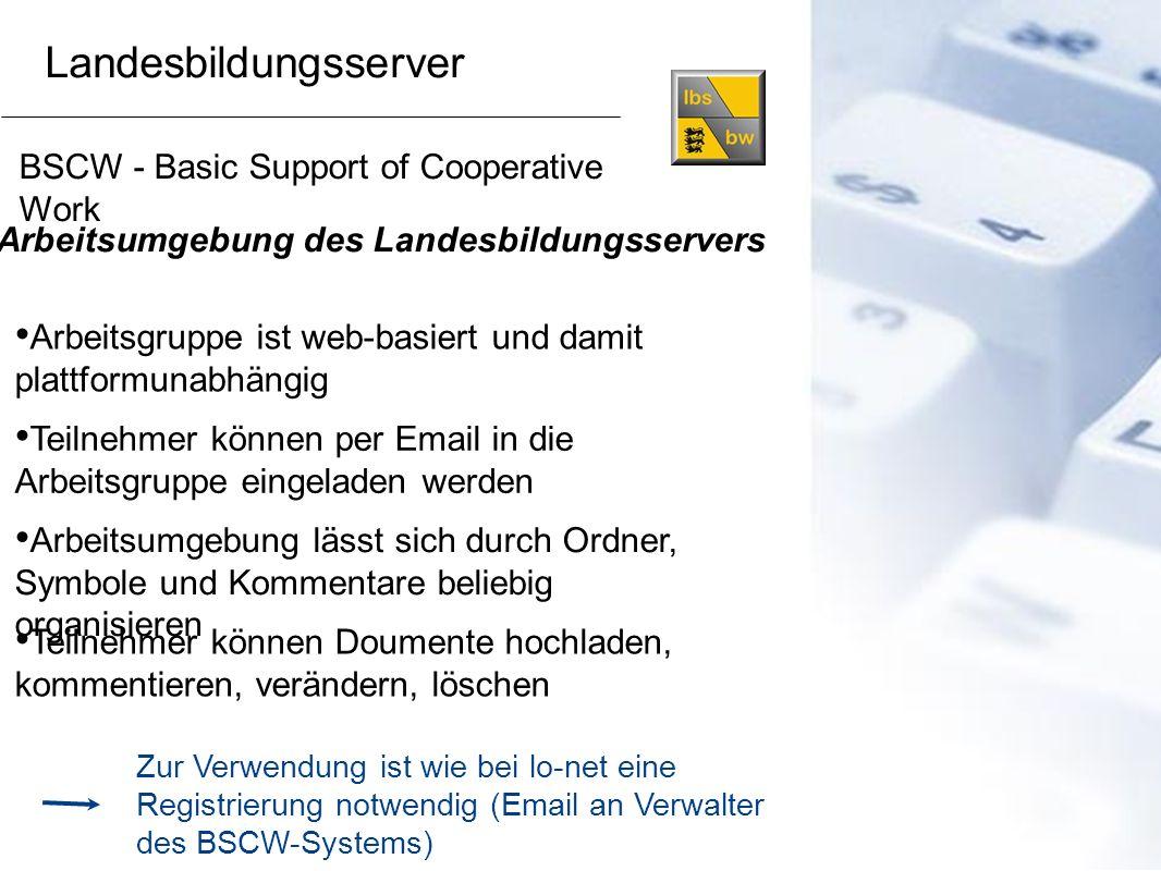 BSCW - Basic Support of Cooperative Work Arbeitsumgebung des Landesbildungsservers Arbeitsumgebung lässt sich durch Ordner, Symbole und Kommentare bel