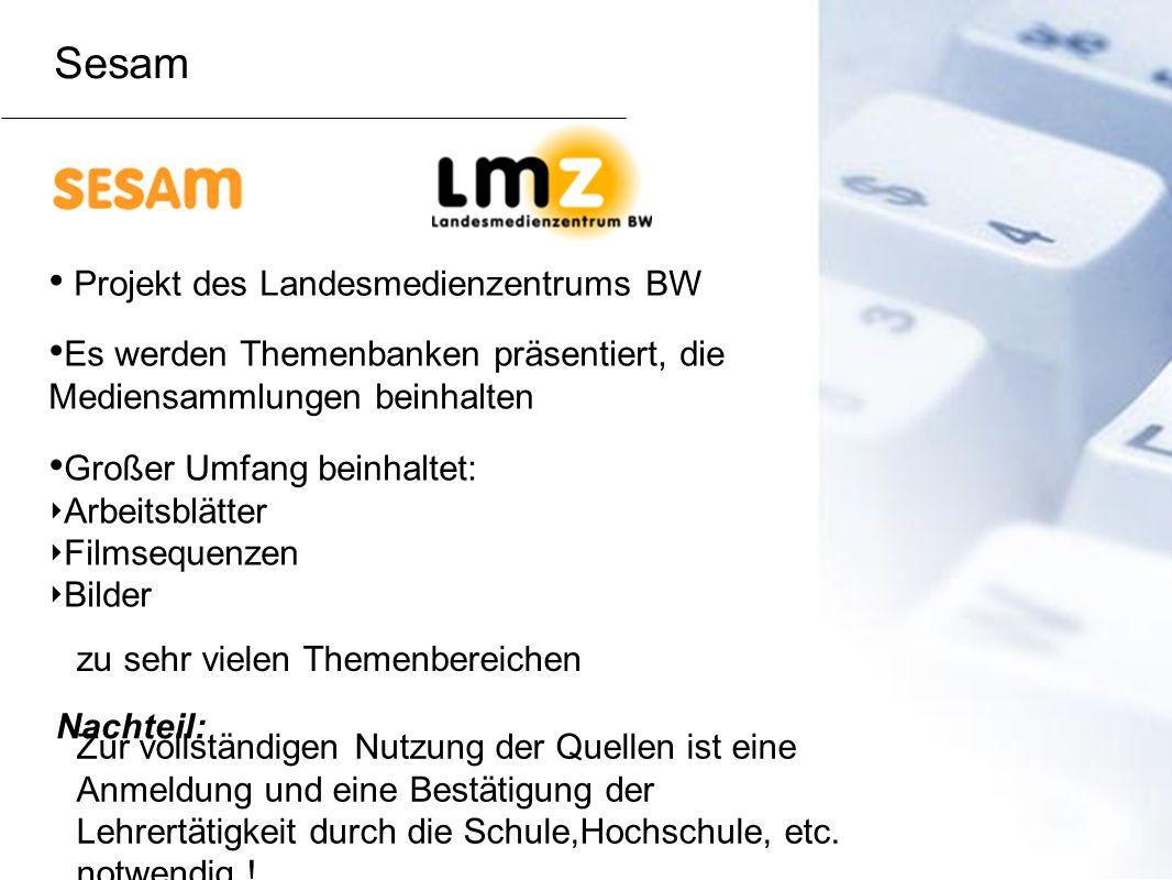 Projekt des Landesmedienzentrums BW Es werden Themenbanken präsentiert, die Mediensammlungen beinhalten Großer Umfang beinhaltet: Arbeitsblätter Films