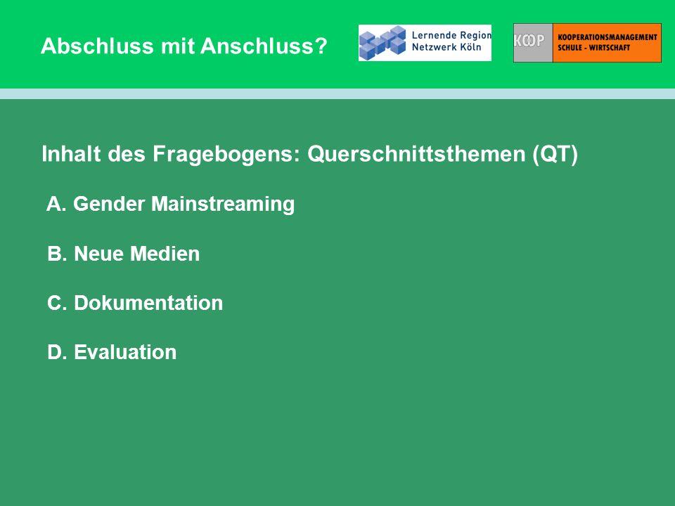 Abschluss mit Anschluss? Inhalt des Fragebogens: Querschnittsthemen (QT) A. Gender Mainstreaming B. Neue Medien C. Dokumentation D. Evaluation