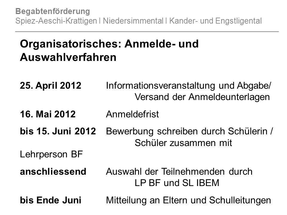 Organisatorisches: Anmelde- und Auswahlverfahren 25. April 2012Informationsveranstaltung und Abgabe/ Versand der Anmeldeunterlagen 16. Mai 2012Anmelde