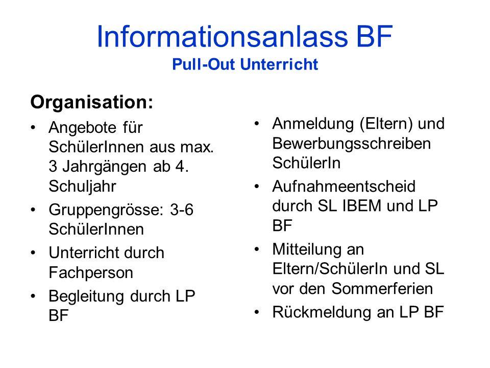 Informationsanlass BF Pull-Out Unterricht Organisation: Angebote für SchülerInnen aus max. 3 Jahrgängen ab 4. Schuljahr Gruppengrösse: 3-6 SchülerInne