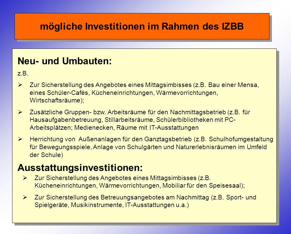 mögliche Investitionen im Rahmen des IZBB Neu- und Umbauten: z.B. Zur Sicherstellung des Angebotes eines Mittagsimbisses (z.B. Bau einer Mensa, eines