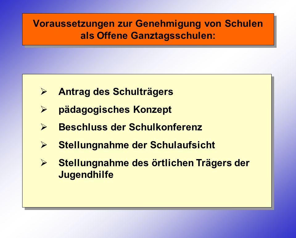 Voraussetzungen zur Genehmigung von Schulen als Offene Ganztagsschulen: Antrag des Schulträgers pädagogisches Konzept Beschluss der Schulkonferenz Ste