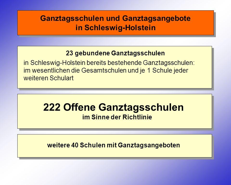Ganztagsschulen und Ganztagsangebote in Schleswig-Holstein 23 gebundene Ganztagsschulen 222 Offene Ganztagsschulen im Sinne der Richtlinie in Schleswi