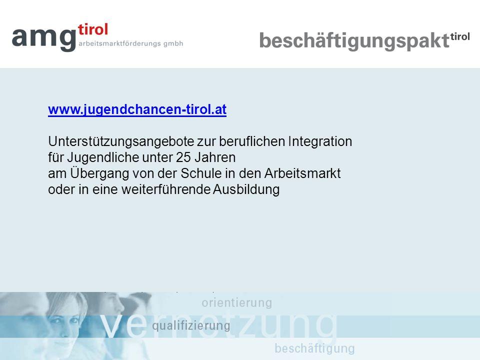 www.jugendchancen-tirol.at Unterstützungsangebote zur beruflichen Integration für Jugendliche unter 25 Jahren am Übergang von der Schule in den Arbeit