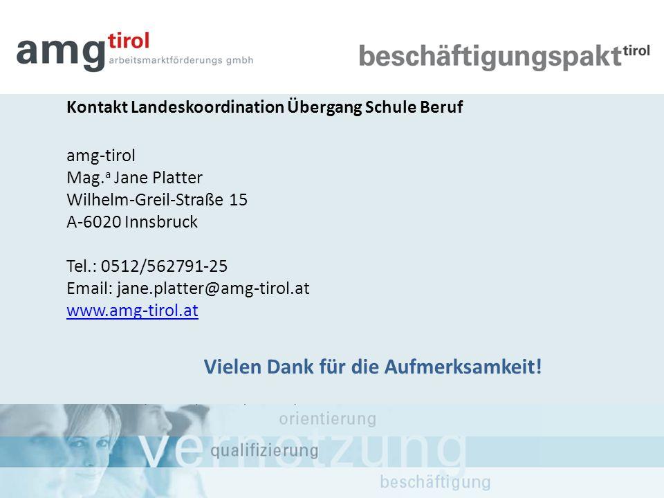 Kontakt Landeskoordination Übergang Schule Beruf amg-tirol Mag. a Jane Platter Wilhelm-Greil-Straße 15 A-6020 Innsbruck Tel.: 0512/562791-25 Email: ja
