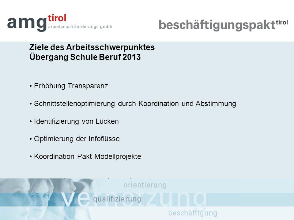 Ziele des Arbeitsschwerpunktes Übergang Schule Beruf 2013 Erhöhung Transparenz Schnittstellenoptimierung durch Koordination und Abstimmung Identifizie