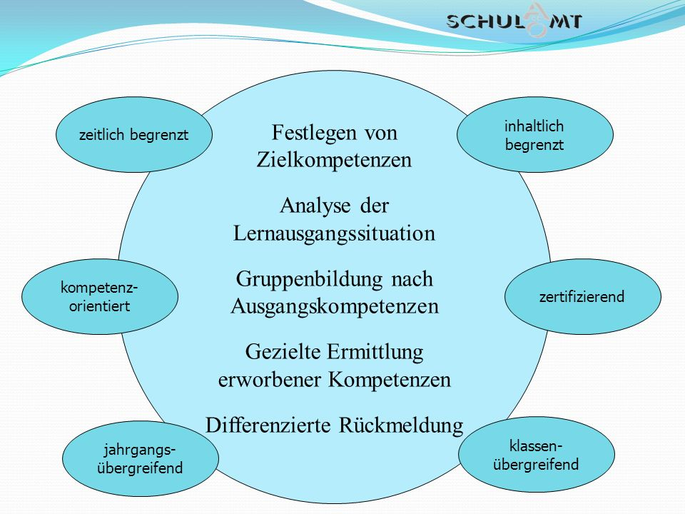 21 Festlegen von Zielkompetenzen Analyse der Lernausgangssituation Gruppenbildung nach Ausgangskompetenzen Gezielte Ermittlung erworbener Kompetenzen