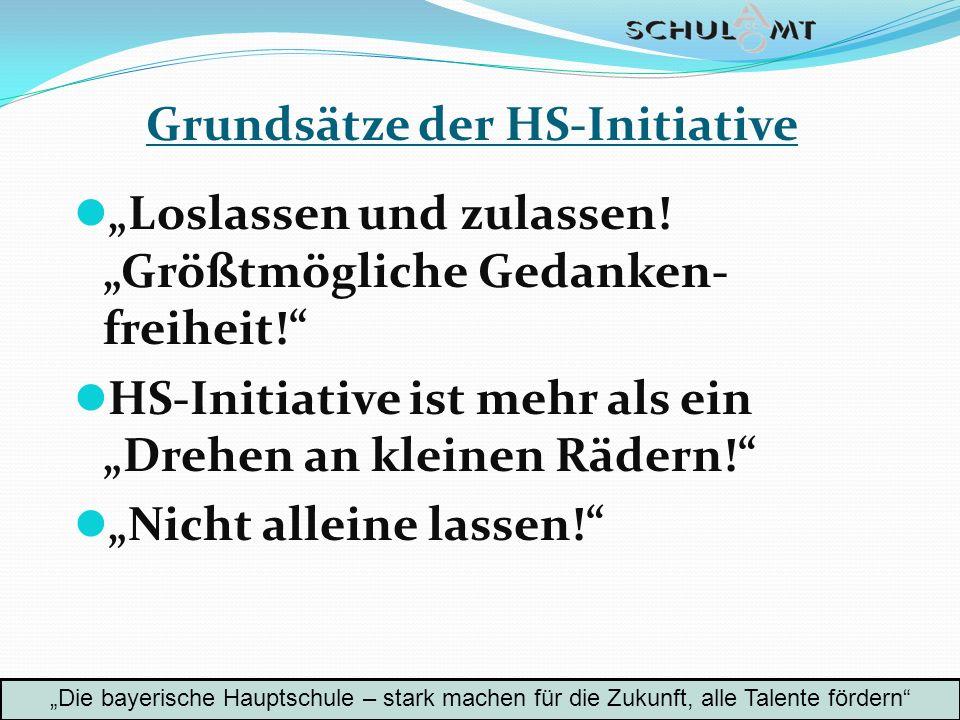 Grundsätze der HS-Initiative Loslassen und zulassen! Größtmögliche Gedanken- freiheit! HS-Initiative ist mehr als ein Drehen an kleinen Rädern! Nicht