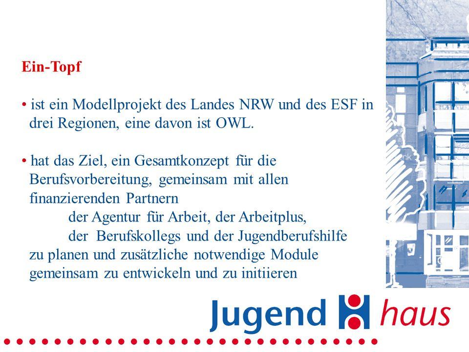 Ein-Topf ist ein Modellprojekt des Landes NRW und des ESF in drei Regionen, eine davon ist OWL. hat das Ziel, ein Gesamtkonzept für die Berufsvorberei
