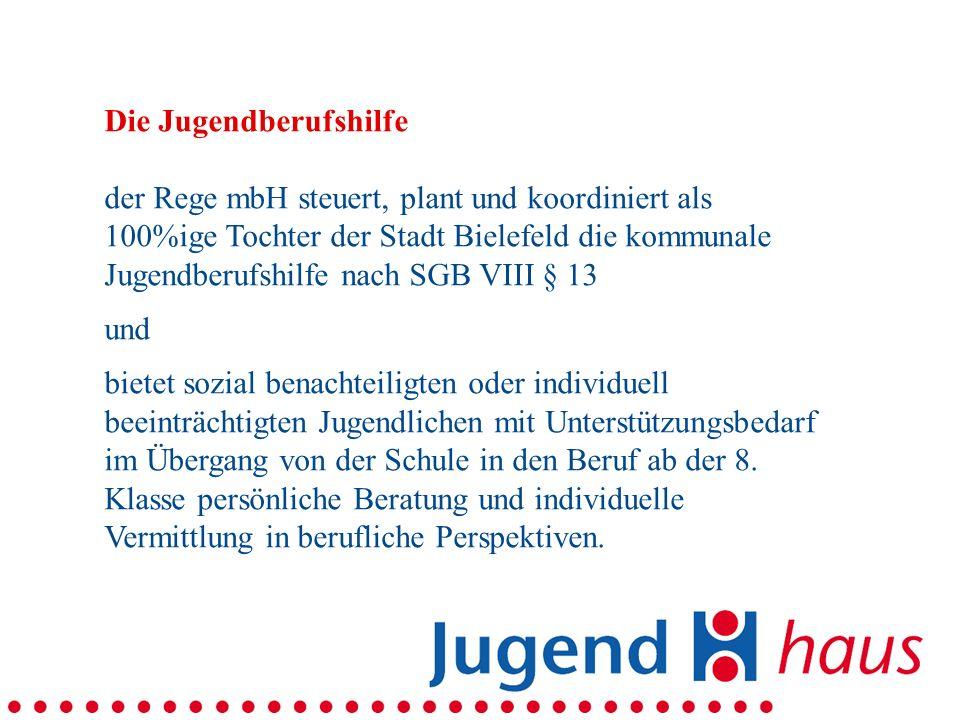 Die Jugendberufshilfe der Rege mbH steuert, plant und koordiniert als 100%ige Tochter der Stadt Bielefeld die kommunale Jugendberufshilfe nach SGB VIII § 13 und bietet sozial benachteiligten oder individuell beeinträchtigten Jugendlichen mit Unterstützungsbedarf im Übergang von der Schule in den Beruf ab der 8.