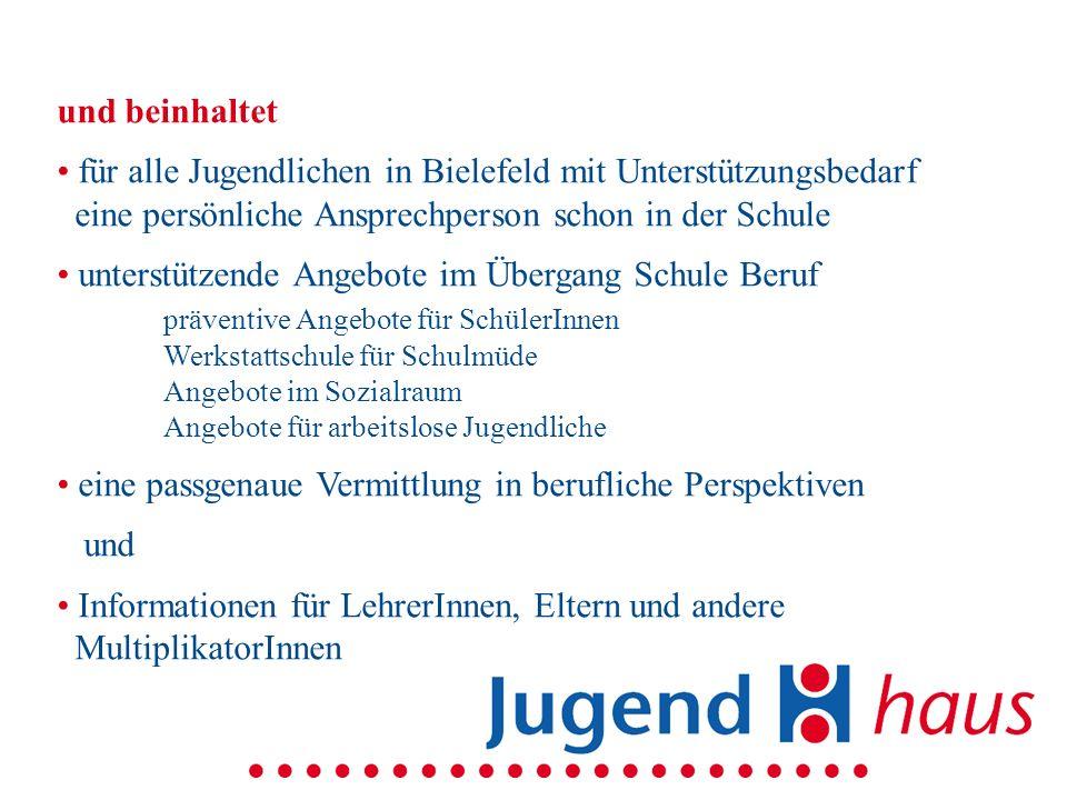 und beinhaltet für alle Jugendlichen in Bielefeld mit Unterstützungsbedarf eine persönliche Ansprechperson schon in der Schule unterstützende Angebote