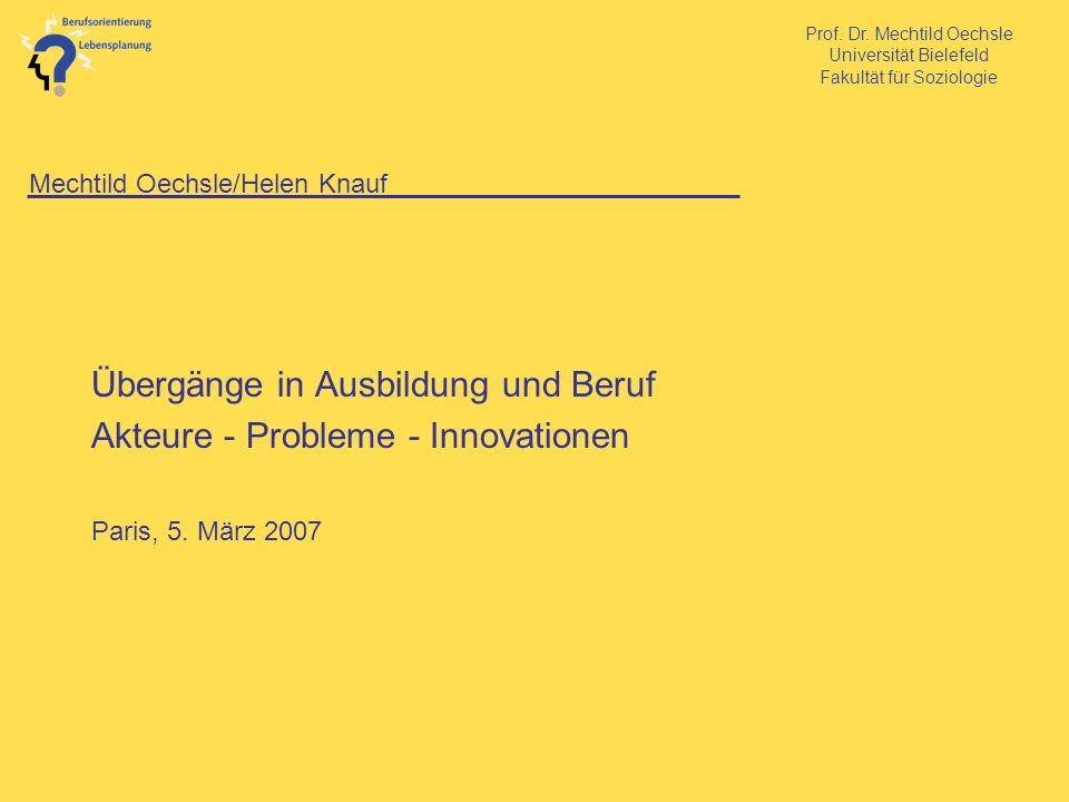 Prof. Dr. Mechtild Oechsle Universität Bielefeld Fakultät für Soziologie Mechtild Oechsle/Helen Knauf Übergänge in Ausbildung und Beruf Akteure - Prob