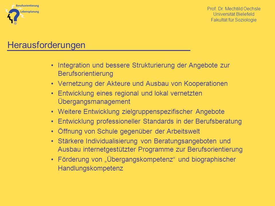 Prof. Dr. Mechtild Oechsle Universität Bielefeld Fakultät für Soziologie Herausforderungen Integration und bessere Strukturierung der Angebote zur Ber