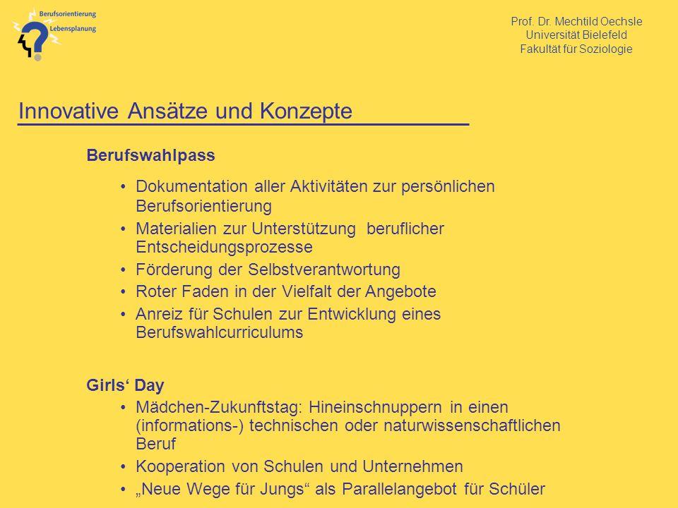 Prof. Dr. Mechtild Oechsle Universität Bielefeld Fakultät für Soziologie Innovative Ansätze und Konzepte Berufswahlpass Dokumentation aller Aktivitäte