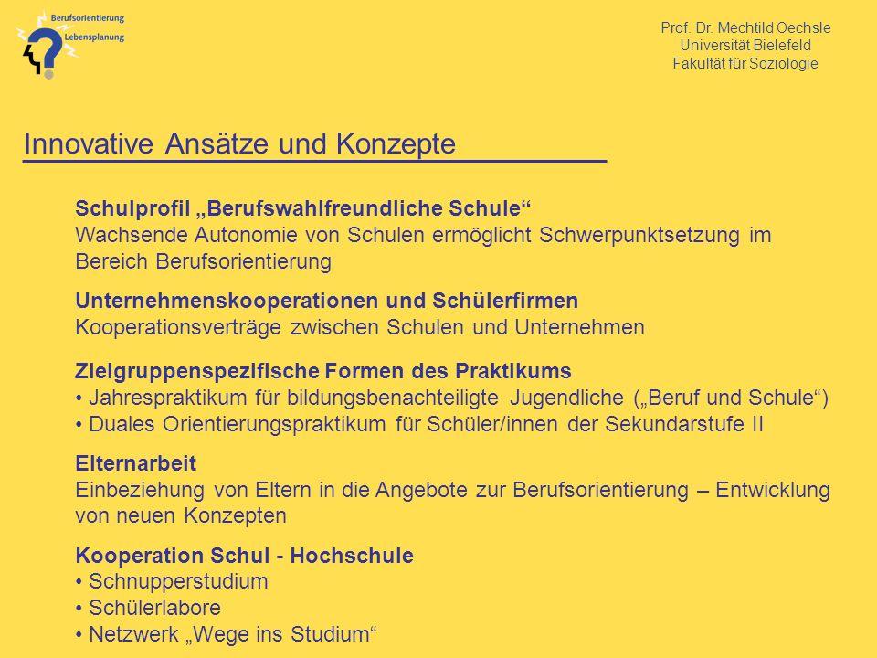 Prof. Dr. Mechtild Oechsle Universität Bielefeld Fakultät für Soziologie Innovative Ansätze und Konzepte Schulprofil Berufswahlfreundliche Schule Wach
