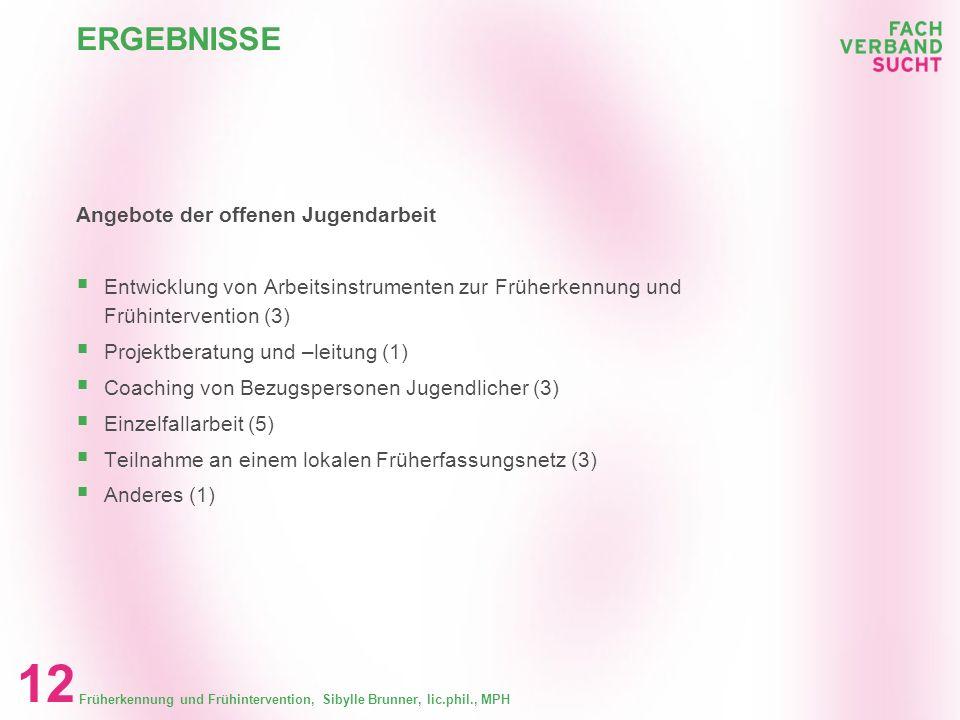 Früherkennung und Frühintervention, Sibylle Brunner, lic.phil., MPH 11 RUECKLAUF Ergebnisse Rücklauf Rücklauf Verbände offene Jugendarbeit 57 % 6 mit