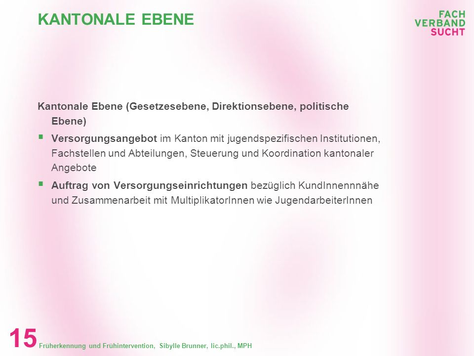 Früherkennung und Frühintervention, Sibylle Brunner, lic.phil., MPH 14 KANTONALE EBENE Kantonale Ebene (Gesetzesebene, Direktionsebene, politische Ebe