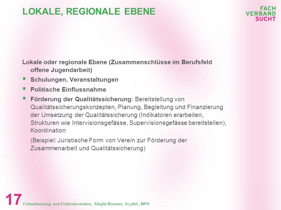 Früherkennung und Frühintervention, Sibylle Brunner, lic.phil., MPH 16 KANTONALE EBENE Kantonale Ebene (Verbandsebene offene Jugendarbeit) Schulungsan
