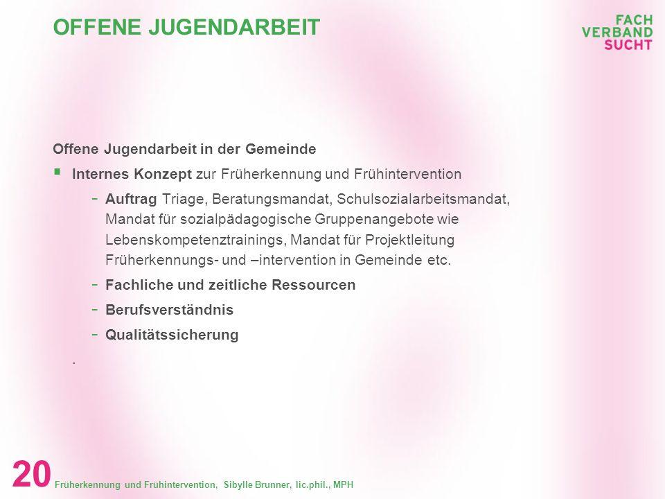 Früherkennung und Frühintervention, Sibylle Brunner, lic.phil., MPH 19 GEMEINDEEBENE Gemeindeebene - Erarbeitung der Grundlagen für die Zusammenarbeit
