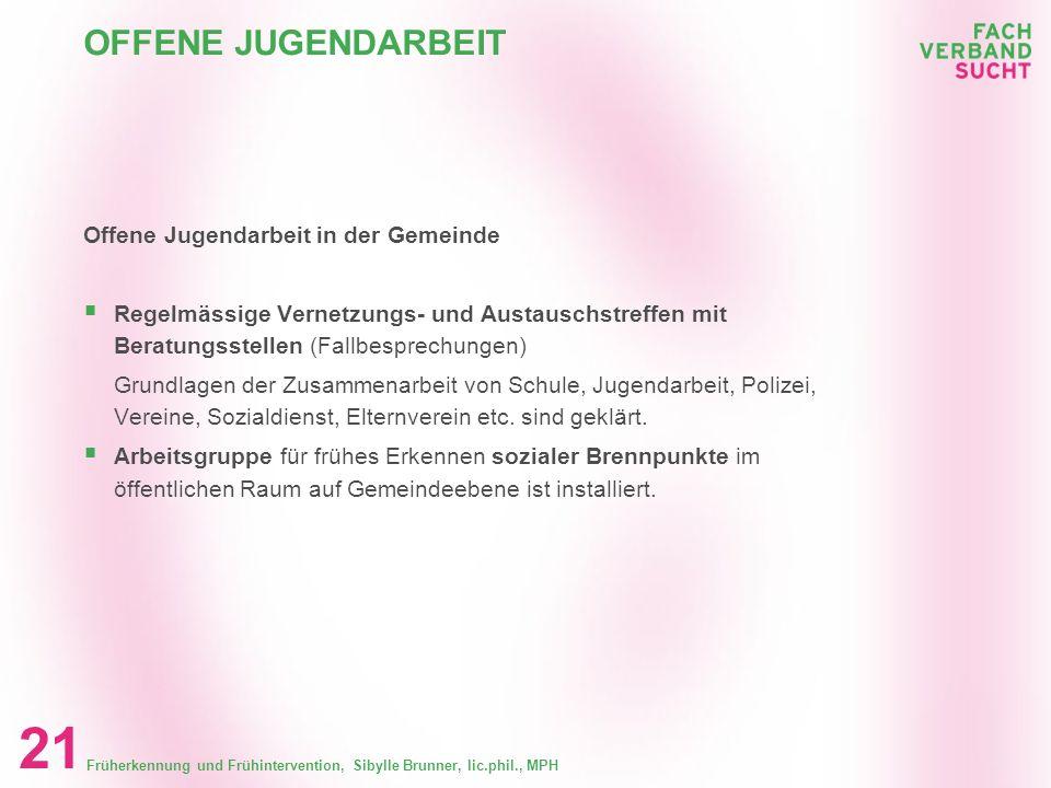 Früherkennung und Frühintervention, Sibylle Brunner, lic.phil., MPH 20 OFFENE JUGENDARBEIT Offene Jugendarbeit in der Gemeinde Internes Konzept zur Fr