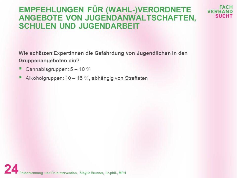 Früherkennung und Frühintervention, Sibylle Brunner, lic.phil., MPH 23 EMPFEHLUNGEN FÜR (WAHL-)VERORDNETE ANGEBOTE VONJUGENDANWALTSCHAFTEN, SCHULEN UN
