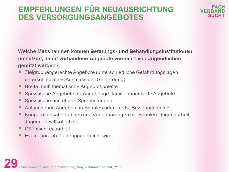 Früherkennung und Frühintervention, Sibylle Brunner, lic.phil., MPH 28 EMPFEHLUNGEN FÜR ANGEBOTE FÜR JUGENDLICHE AUS BELASTETEN FAMILIEN Fazit Angebot