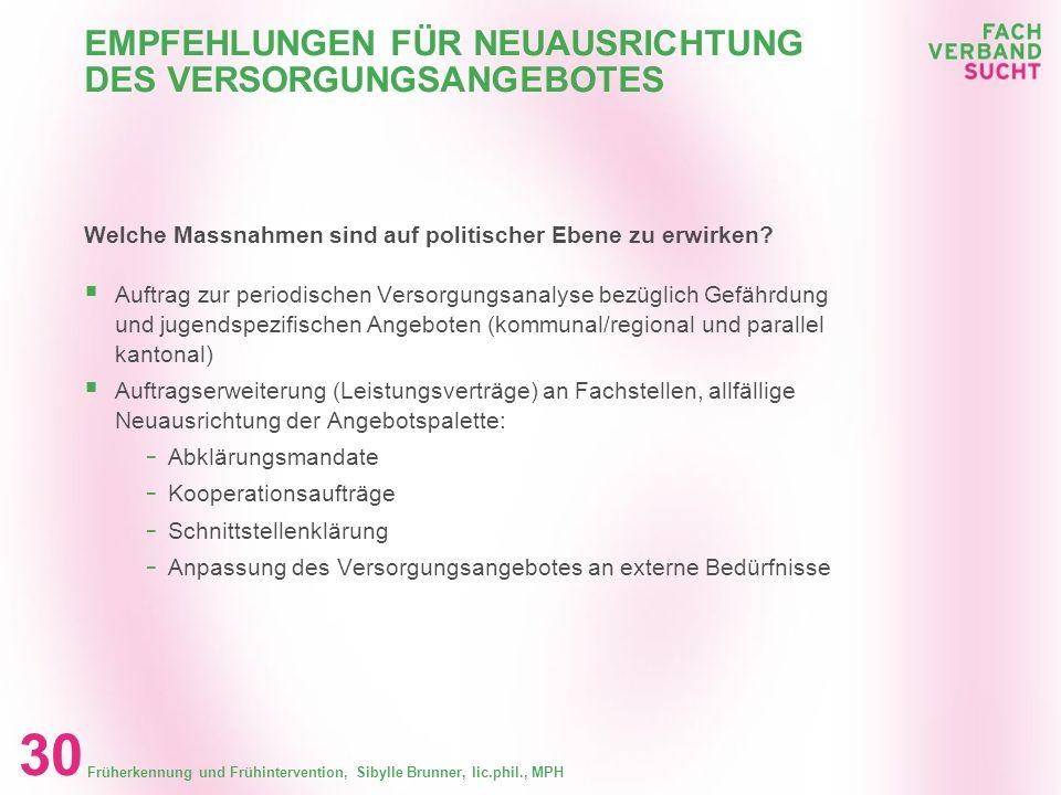 Früherkennung und Frühintervention, Sibylle Brunner, lic.phil., MPH 29 EMPFEHLUNGEN FÜR NEUAUSRICHTUNG DES VERSORGUNGSANGEBOTES Welche Massnahmen könn