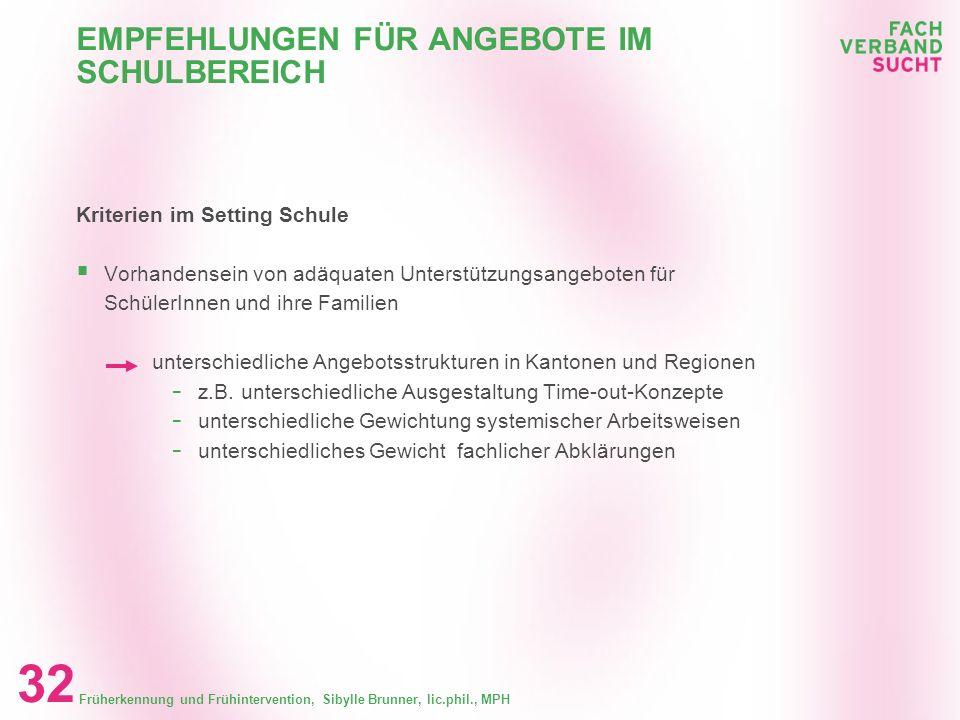 Früherkennung und Frühintervention, Sibylle Brunner, lic.phil., MPH 31 EMPFEHLUNGEN FÜR ANGEBOTE IM SCHULBEREICH Kriterien im Setting Schule Erfolgsve