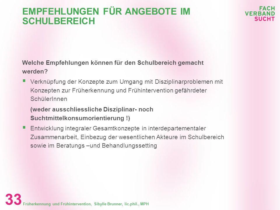 Früherkennung und Frühintervention, Sibylle Brunner, lic.phil., MPH 32 EMPFEHLUNGEN FÜR ANGEBOTE IM SCHULBEREICH Kriterien im Setting Schule Vorhanden