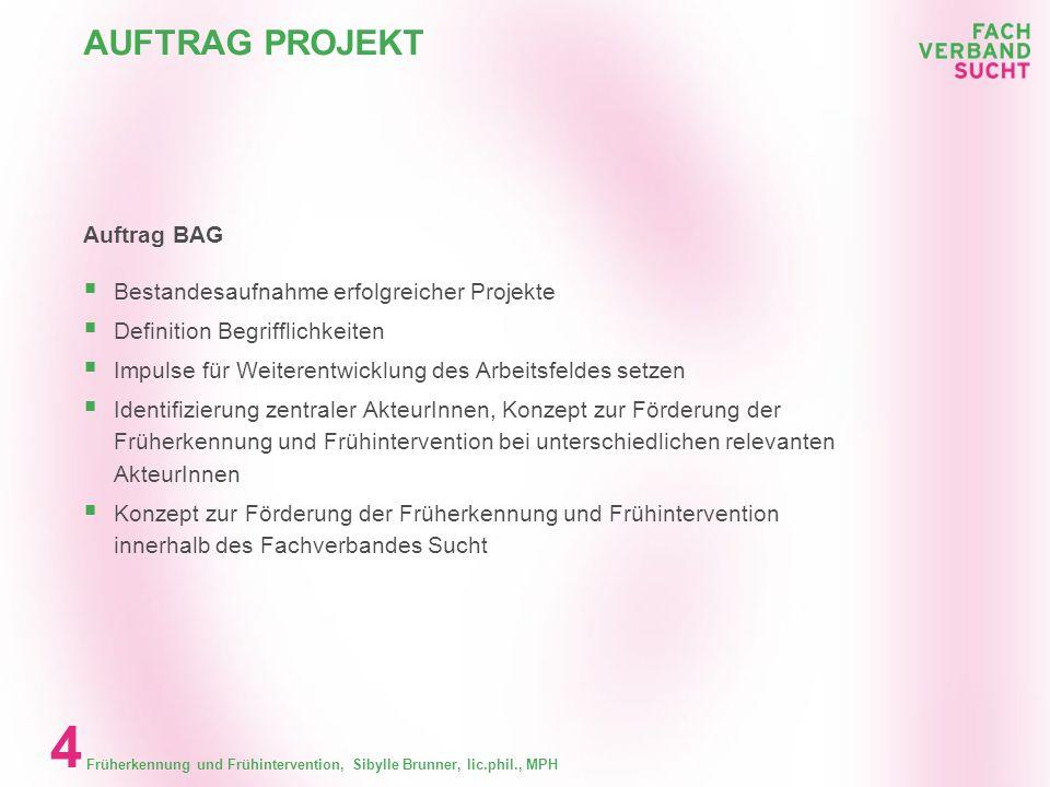 Früherkennung und Frühintervention, Sibylle Brunner, lic.phil., MPH 3 GLIEDERUNG Inhalt Auftrag BAG Begrifflichkeiten, Betäubungsmittelgesetzesrevisio