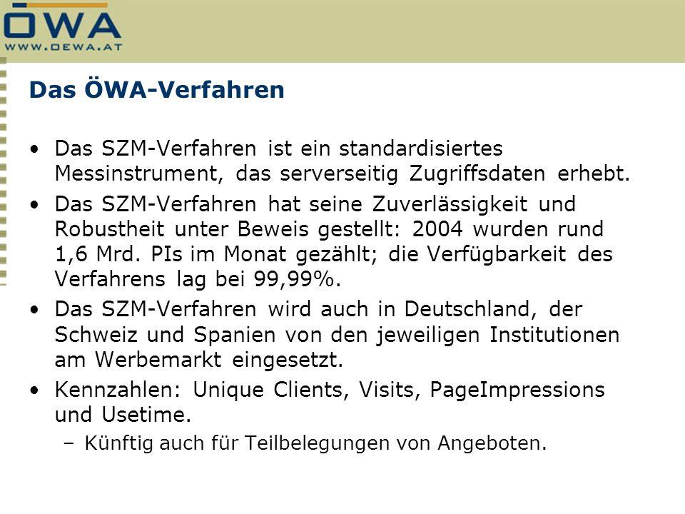Das ÖWA-Verfahren Das SZM-Verfahren ist ein standardisiertes Messinstrument, das serverseitig Zugriffsdaten erhebt. Das SZM-Verfahren hat seine Zuverl