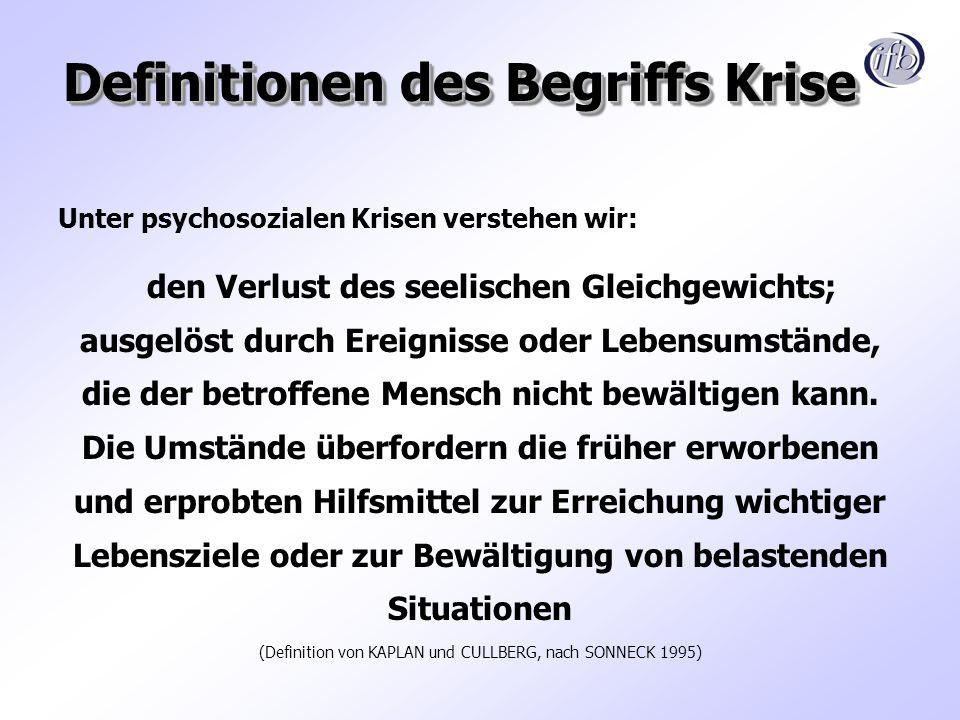 Definitionen des Begriffs Krise Unter psychosozialen Krisen verstehen wir: den Verlust des seelischen Gleichgewichts; ausgelöst durch Ereignisse oder