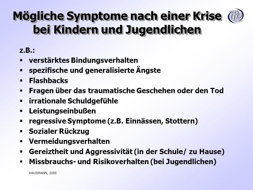 Mögliche Symptome nach einer Krise bei Kindern und Jugendlichen z.B.: verstärktes Bindungsverhalten spezifische und generalisierte Ängste Flashbacks F