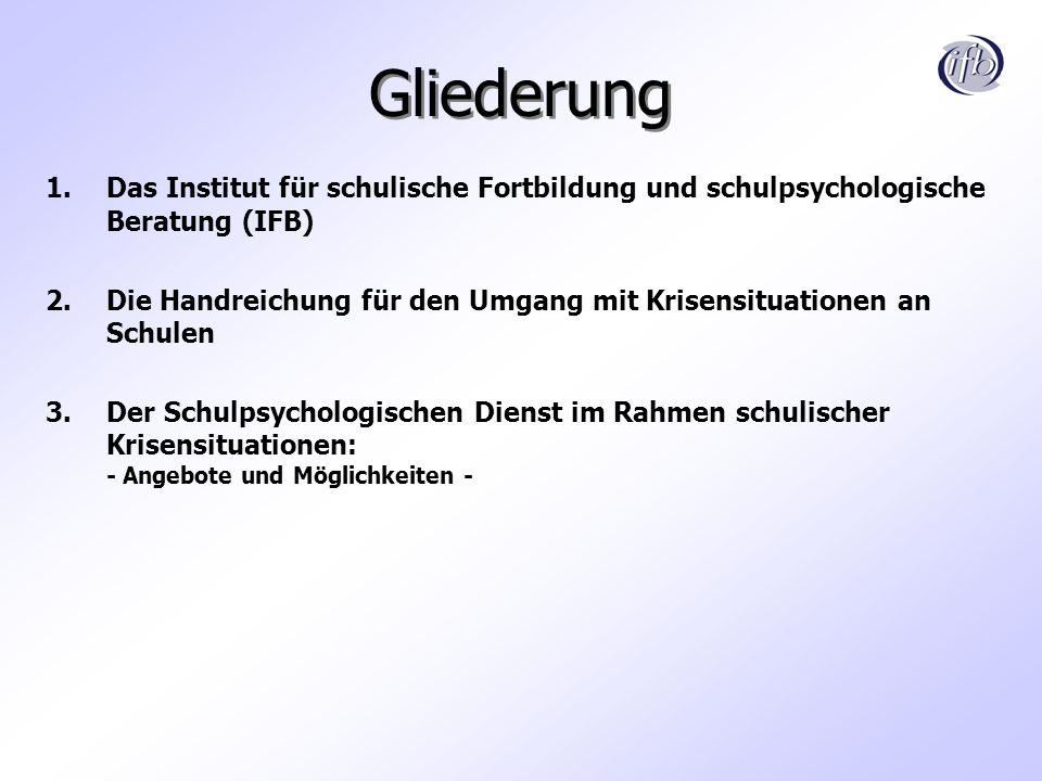 Gliederung 1.Das Institut für schulische Fortbildung und schulpsychologische Beratung (IFB) 2.Die Handreichung für den Umgang mit Krisensituationen an