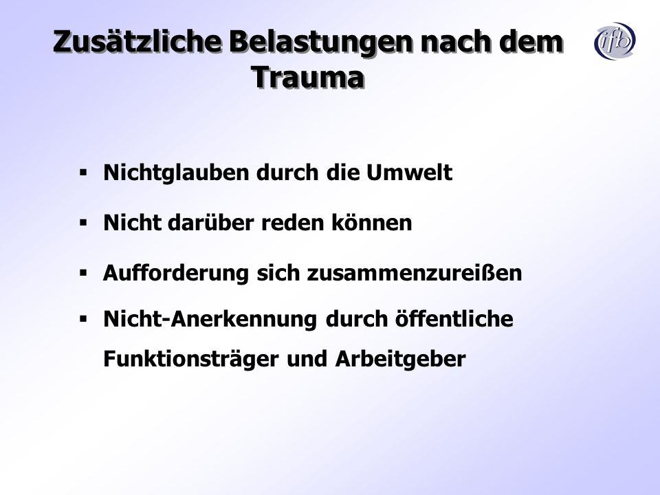 Zusätzliche Belastungen nach dem Trauma Nichtglauben durch die Umwelt Nicht darüber reden können Aufforderung sich zusammenzureißen Nicht-Anerkennung