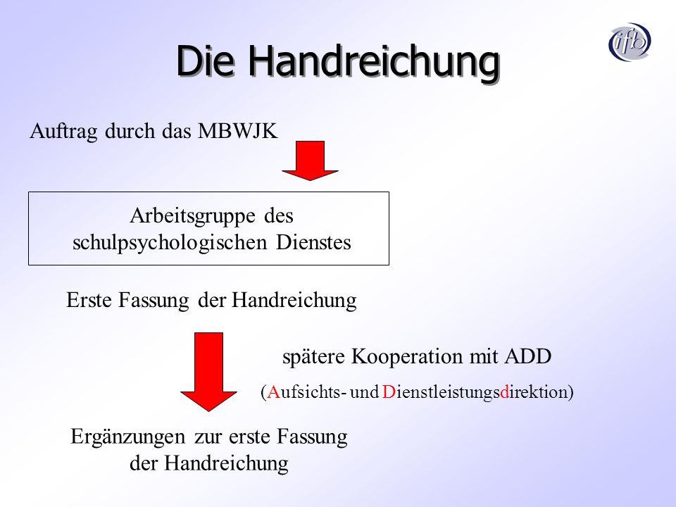 Die Handreichung Auftrag durch das MBWJK Arbeitsgruppe des schulpsychologischen Dienstes spätere Kooperation mit ADD (Aufsichts- und Dienstleistungsdi