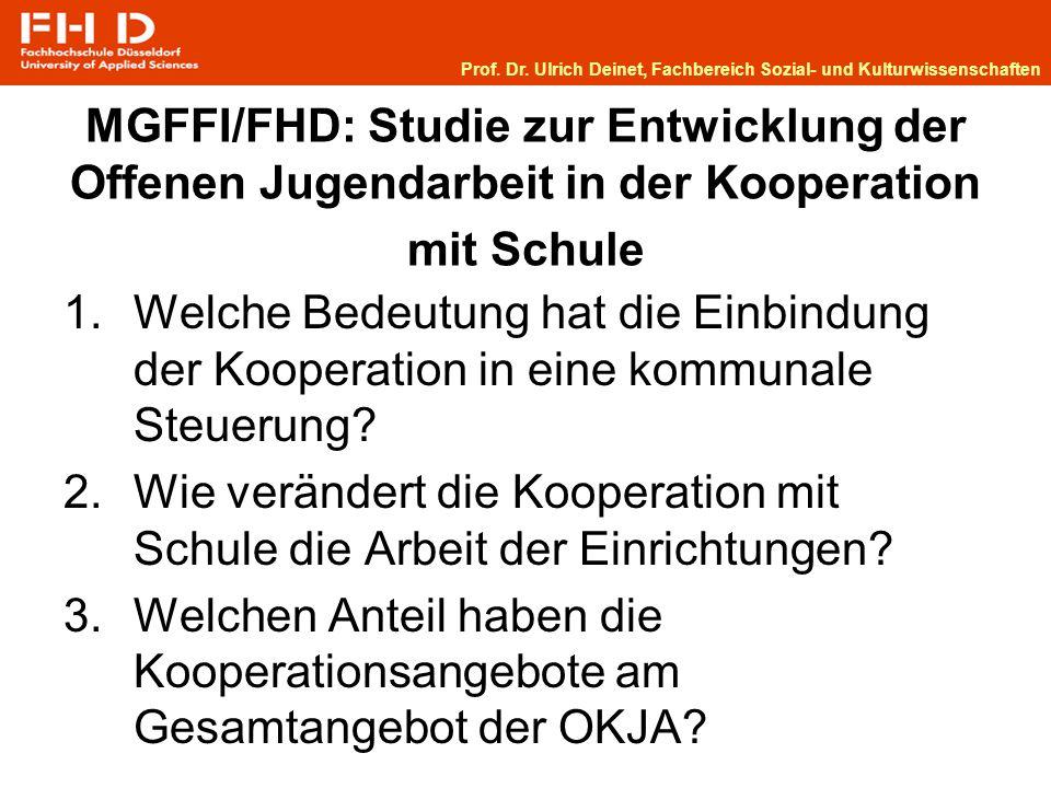 MGFFI/FHD: Studie zur Entwicklung der Offenen Jugendarbeit in der Kooperation mit Schule 1.Welche Bedeutung hat die Einbindung der Kooperation in eine