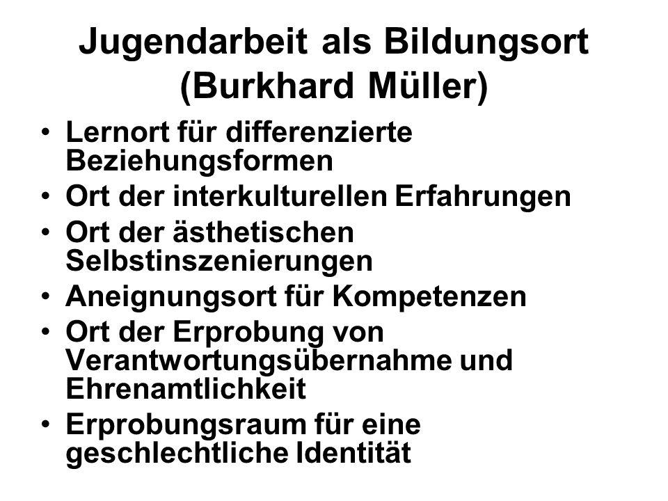 Jugendarbeit als Bildungsort (Burkhard Müller) Lernort für differenzierte Beziehungsformen Ort der interkulturellen Erfahrungen Ort der ästhetischen S