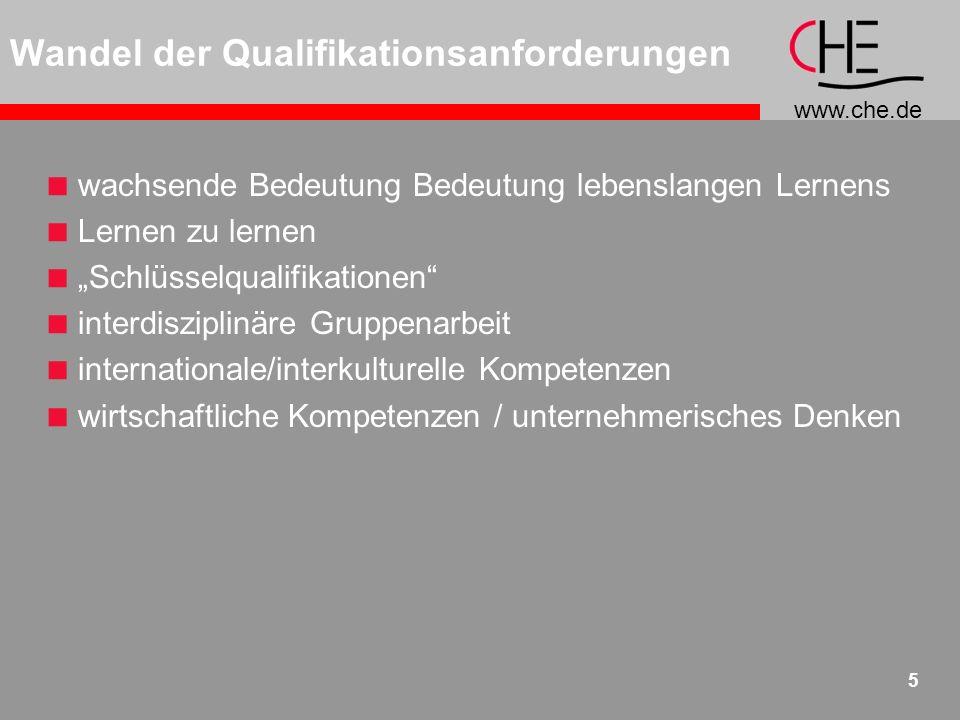 www.che.de 5 wachsende Bedeutung Bedeutung lebenslangen Lernens Lernen zu lernen Schlüsselqualifikationen interdisziplinäre Gruppenarbeit internationale/interkulturelle Kompetenzen wirtschaftliche Kompetenzen / unternehmerisches Denken Wandel der Qualifikationsanforderungen
